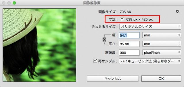 Photoshopの「画像解像度」に表示されたピクセル表示の画像サイズ