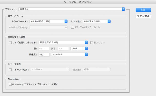 Camera rawでの作業用カラースペースなどを設定する。