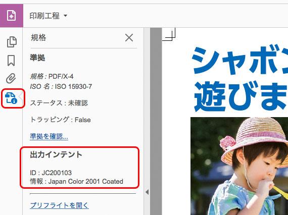 PDFドキュメントの出力インテントを確認