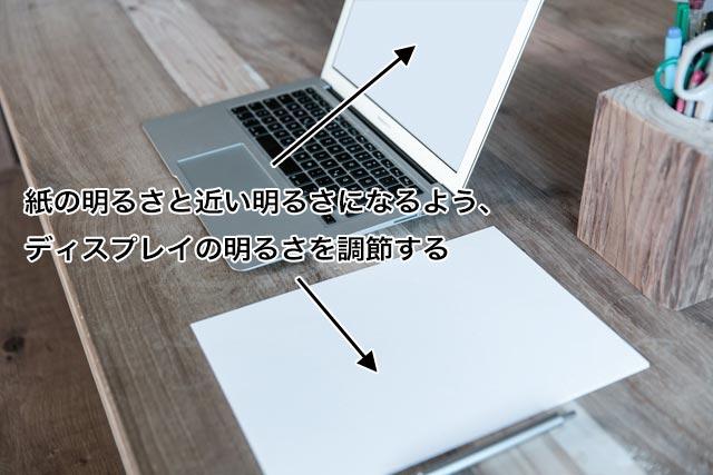 真っ白な画面を表示したディスプレイの明るさを、白い紙の明るさに近づける。